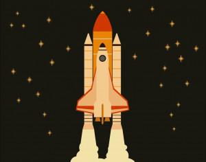 Space shuttle flying in space with stars on background  Photoshop brush