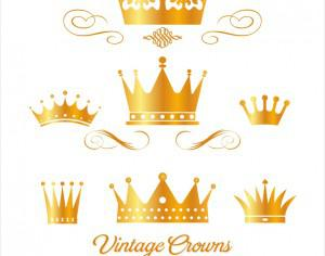 Set of gold king crowns Photoshop brush