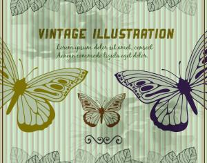 Vintage background with butterflies Photoshop brush
