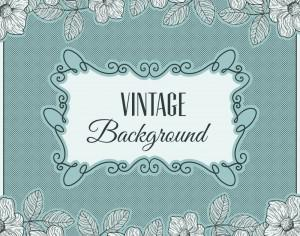 Vintage flowers with frame and typography Photoshop brush