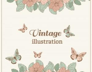 Vintage flower illustration with butterfly Photoshop brush