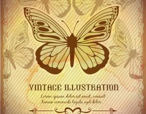 Vintage background with butterfly Photoshop brush