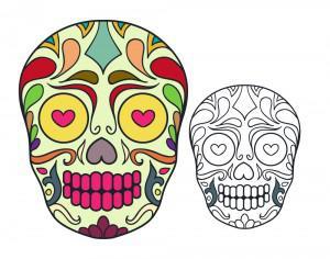 Vector sugar skull illustration Photoshop brush