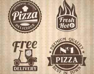Pizza labels collection. Photoshop brush