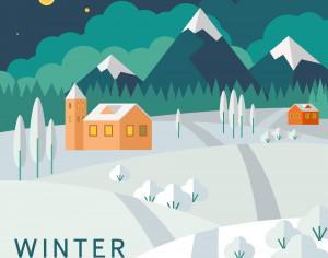 Winter landscape Photoshop brush