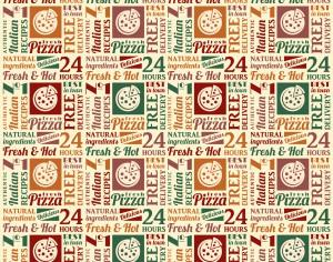 Seamless pattern with pizza lettering Photoshop brush