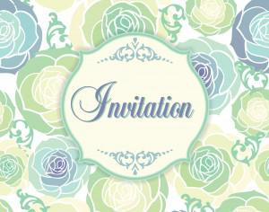 Invitation template with floral background Photoshop brush