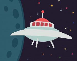 UFO in cartoon style Photoshop brush