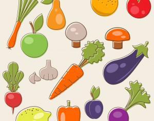 Cartoon fruits vector set Photoshop brush