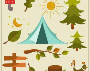 Nature camping vector elements Photoshop brush