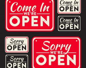 Vector open and closed signs Photoshop brush
