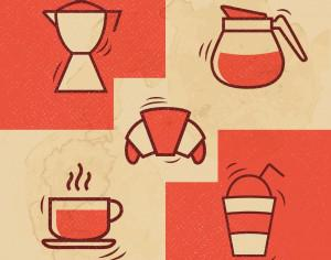 Vintage Coffee icons with Grunge Effect Photoshop brush