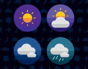 Weather icons. Vector illustration. Photoshop brush