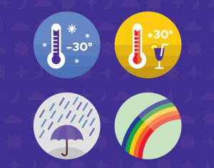 Weather icons. Vector illustration. Photoshop brush