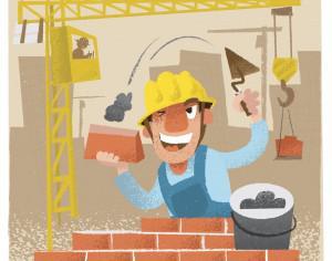 Builder man character. Vector illustration Photoshop brush