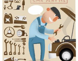 Car service man with tools. Vector illustration Photoshop brush