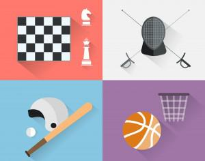 Sport objects for design. Vector illustrations. Photoshop brush