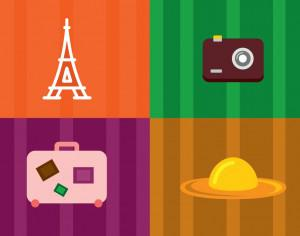 Travel objects vector illustration for design Photoshop brush