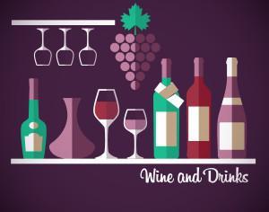 Wine abstract illustration. Flat style. Photoshop brush