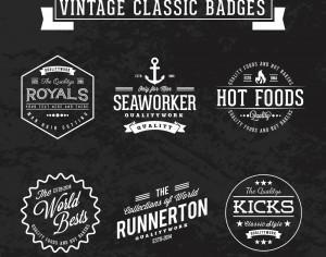 Vintage retro classic badges Photoshop brush
