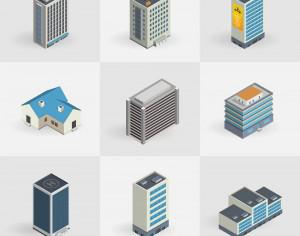 Isometric vector buildings icons Photoshop brush