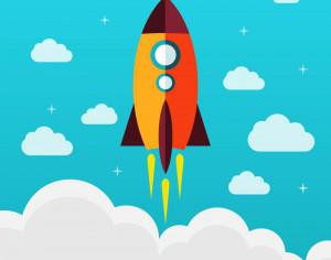 Flying rocket success diagram vector Photoshop brush