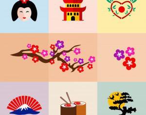 Set of Japanese Icons Photoshop brush