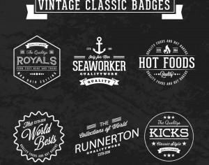 Set of Vintage Badges Photoshop brush
