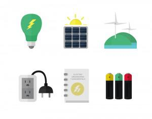 Electricity and clean energy icons Photoshop brush