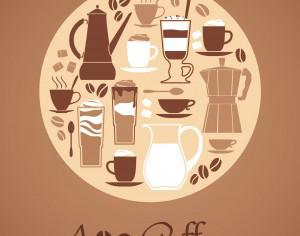 Vector illustration of coffee design elements. Photoshop brush