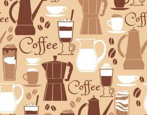 Vector illustration of coffee design elements. Seamless pattern Photoshop brush