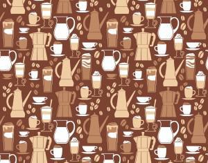 Vector illustration of coffee design elements. Seamless pattern Photoshop brush