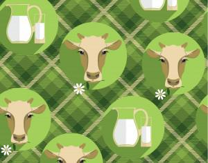 Vector  flat design illustration of cow. Seamless pattern Photoshop brush