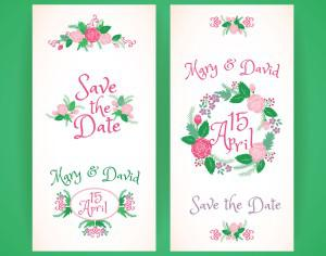 Wedding invitation cards with flowers  Photoshop brush