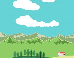 Vector illustration Mountain landscape Photoshop brush