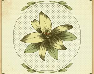 Vintage illustration with vintage flower Photoshop brush