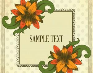 Vintage illustration with vintage flowers and  frame Photoshop brush