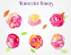 Watercolor vector flowers Photoshop brush