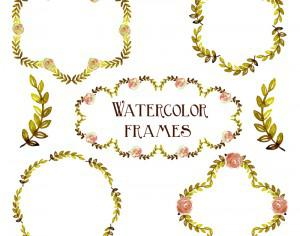 Watercolor vector set with frames  Photoshop brush