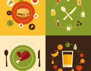 Food flat design concept icons  Photoshop brush