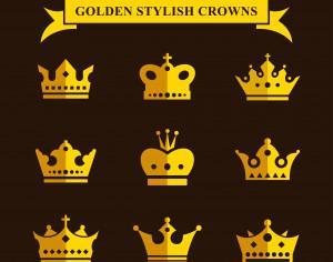 Golden Stylish Crowns Photoshop brush