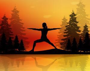 Yoga pose at sunset Photoshop brush