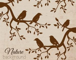 Vintage bird illustration Photoshop brush