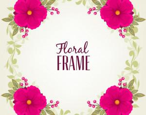 Vintage frame with flower and leaves Photoshop brush