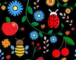 Pattern with leaves, berries, bugs, flowers, apple, branches Photoshop brush