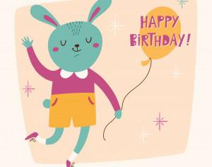 Happy Birthday card with cute bunny Photoshop brush