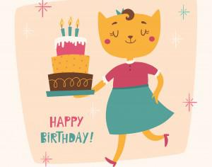 Happy Birthday card with cute cat Photoshop brush