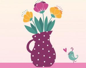 Vector illustration of jug with flowers Photoshop brush