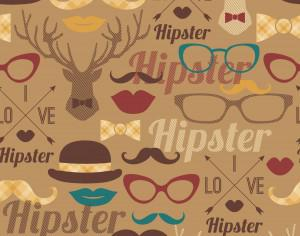 Hipster seamless pattern. Photoshop brush