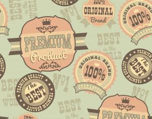 Seamless pattern with retro vintage badges Photoshop brush